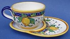 Limone Cappuccino Cup Biscotti Plate