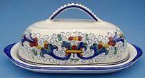 Vecchia Deruta Butter Dish with Cover