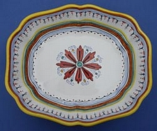 Ricco Deruta Scalloped Oval Serving Bowl