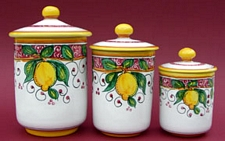 Limone Rosso 3 piece Canister Set
