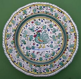 Green Orvieto Scalloped Round Serving Plate