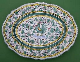 Green Orvieto Scalloped Oval Serving Plate