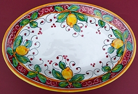 Limone Rosso Oval Serving Plate