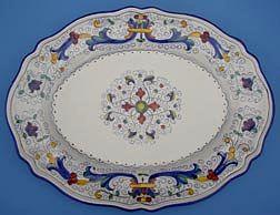Vecchia Deruta Scalloped Oval Serving Plate