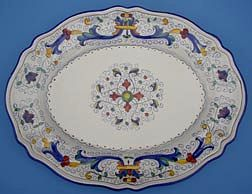 Vecchia Deruta Scalloped Oval Serving Plate