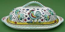 Green Orvieto Butter Dish with Cover