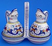 Vecchia Deruta Oil and Vinegar Cruets with Holder
