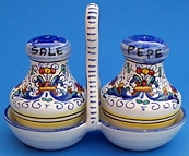 Vecchia Deruta Salt and Pepper Set with Holder