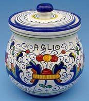 Vecchia Deruta Garlic Jar