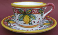 Limone Rosso Coffee Tea Cup and Saucer