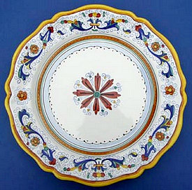 Ricco Deruta Scalloped Round Serving Plate