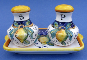 Limone Salt and Pepper Set with Tray