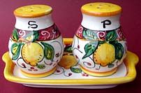 Limone Rosso Salt and Pepper Set with Tray