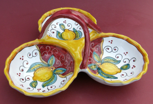 Limone Rosso Antipasto Condiment Dish with Handle