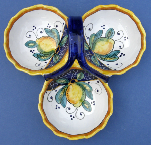 Limone Antipasto Condiment Dish with Handle - looking down