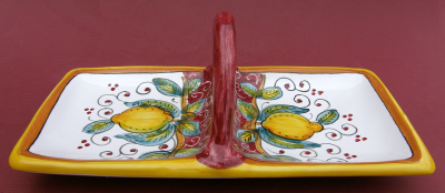 Limone Rosso Two Sided Antipasto Snack Dish with Handle Dish