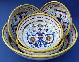 Ricco Deruta Italian Pasta Bowl Set Special - 5pc