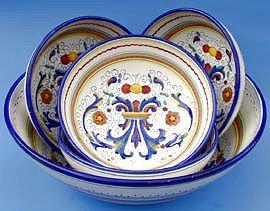 Vecchia Deruta Italian Pasta Bowl Set Special - 5pc
