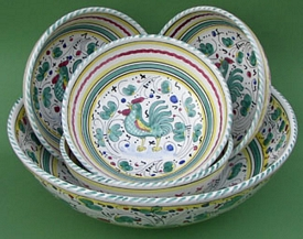 Green Orvieto Italian Pasta Bowl Set Special 5pc