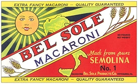 Bel Sole Macaroni Label Vintage Italian Wall Sign - Wood